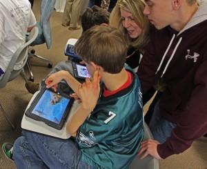 Family with iPad